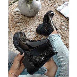 Black croc-effect bi-material Chelsea boots