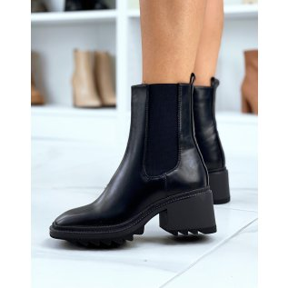Black heeled square toe ankle boots