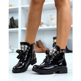 Black patent ankle boots with thick laces and openwork pearls