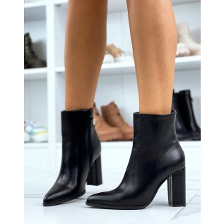 Black smooth ankle boots with square heel and pointed toe