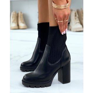 Black sock-effect ankle boots with heel