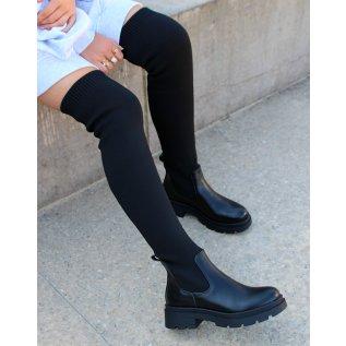 Black sock-effect thigh-high boots