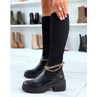 Bottes noires montantes effet chaussette à fines chaines dorées