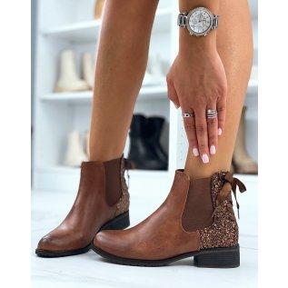 Chelsea boots camel à paillettes avec nœud