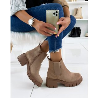 Light brown chelsea boots in suede with a chunky sole and heel