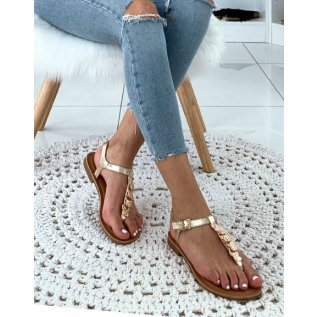 Nu-pieds doréesà bijoux dorésfrappés