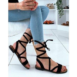 Nu-pieds en suédine noirs à lacets entrecroisés