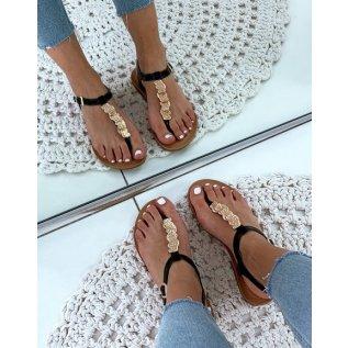 Nu-pieds noiresà bijoux dorésfrappés