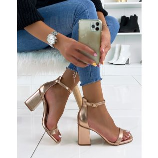 Rosegold Square Toe Heeled Sandals