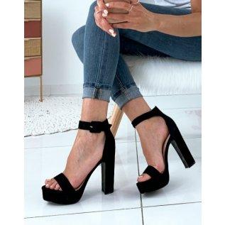 Sandales en suédine à plateformes noires