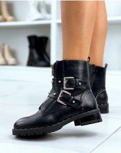 Boots noirs a talon à multiples sangles
