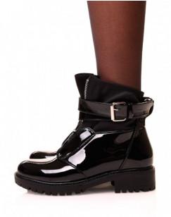 Bottines noires vernies à zip effet chaussette