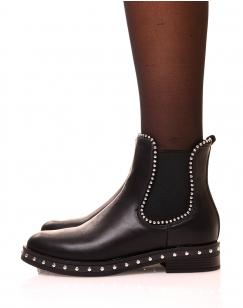 Chelsea boots noire à détails perles