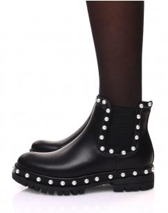 Chelsea boots noires à perles