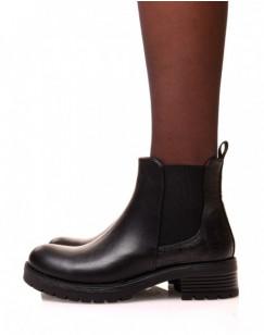 Chelsea boots noires avec élastique bi-matières