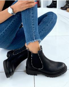 Chelsea boots noires bi-matières à détails effet python
