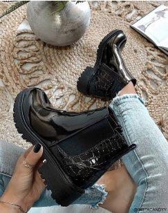 Chelsea boots noires bi-matières effet croco