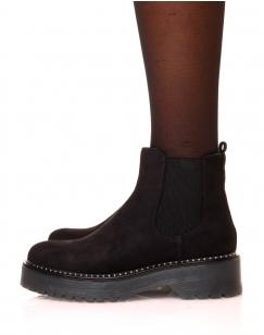 Chelsea boots noires en suédine
