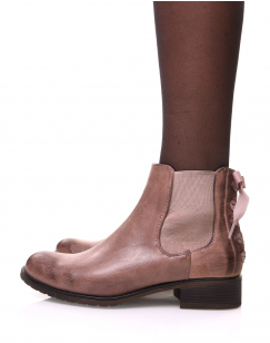 Chelsea boots roses à noeud