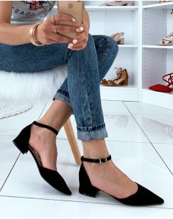 Escarpins à petit talon noirs en suédine