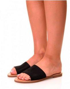 Nu-pieds en suédine noirs à larges brides
