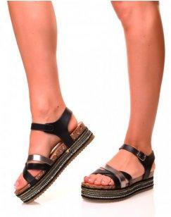 Nu-pieds noirs à multiples lanières et semelles épaisses