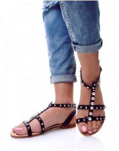 Nu-pieds noirs à perles et clous