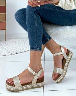 Sandales à semelles compensées doré métallique