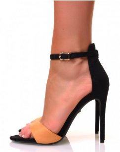 Sandales à talons aiguilles en suédine à l'avant jaunes