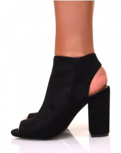 Sandales à talons carrés en suédine noire fermées