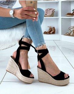 Sandales à talons compensés à lacets en suédine noire