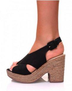 Sandales à talons compensés effet sabot en suédine noire
