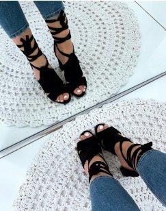 Sandales à talons noires en suédine à lacets