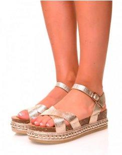 Sandales compensées or