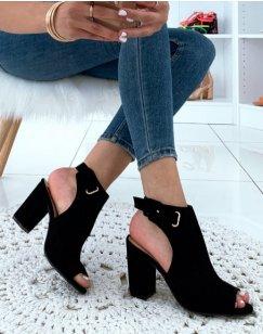 Sandales fermées à talons noires en suédine
