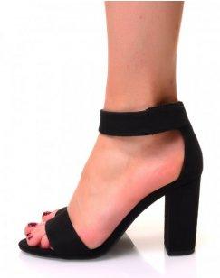 Sandales noires en suédine à talons carrés et brides en scratch