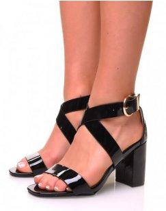 Sandales noires vernis