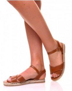 Sandales plates camel